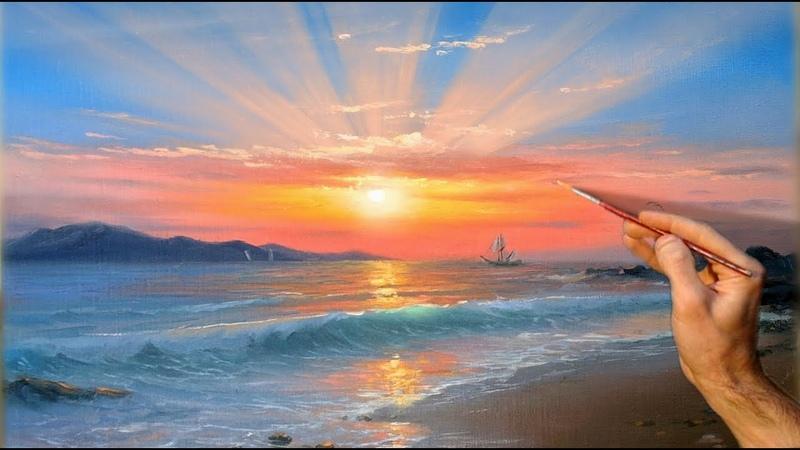 Sunset Seascape Oil Painting. Art   Морской закат. Живопись маслом   Ölmalerei   Peinture à lhuile