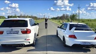 КТО ОБГОНИТ BMW X5M ? Evo 8 Mitsubishi, ТурбоНИВА, TOYOTA Starlet и Subaru WRX STI, BMW 5 new vs old