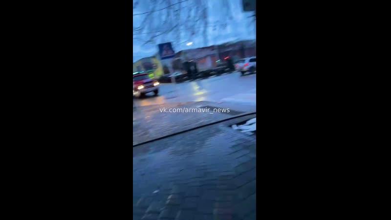 Пожар в магазине Шаг на АГПУ 17 01 21 Армавир