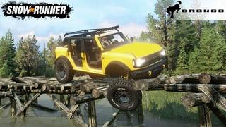 SnowRunner - 2021 FORD BRONCO BADLANDS 4DOORS Drives Over A Broken Wooden Bridge
