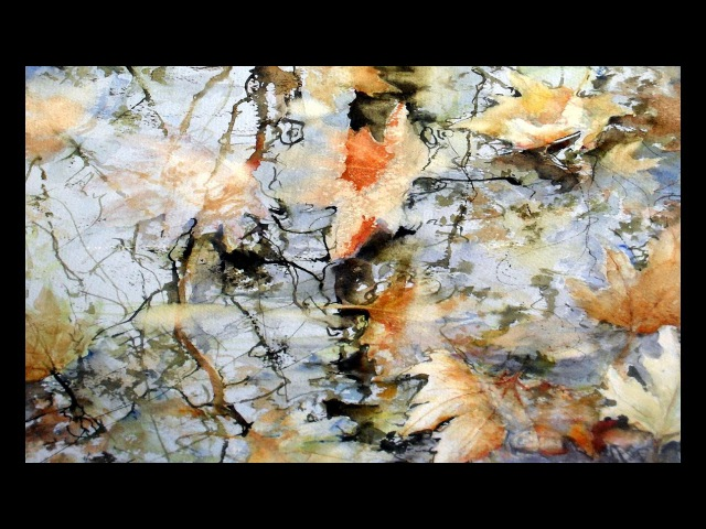 Leaves and reflection with autumn colors watercolor painting by Rukiye Garip