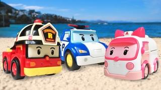 Spielzeug Video mit Robocar Poli - Spielspaß im Sand - Videos für Kinder mit Spielzeugautos