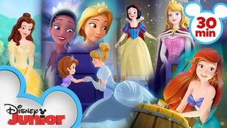 Every Time Sofia Meets a Disney Princess 👑| Sofia the First | Disney Junior