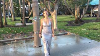 @TrinaMason outside wetlook shower in silver dress April 15 2018 7:30am