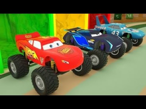 Learn Shapes with Cars Mcqueen Monster Truck Spec Mack Truck Parking Vehilce KidMission100