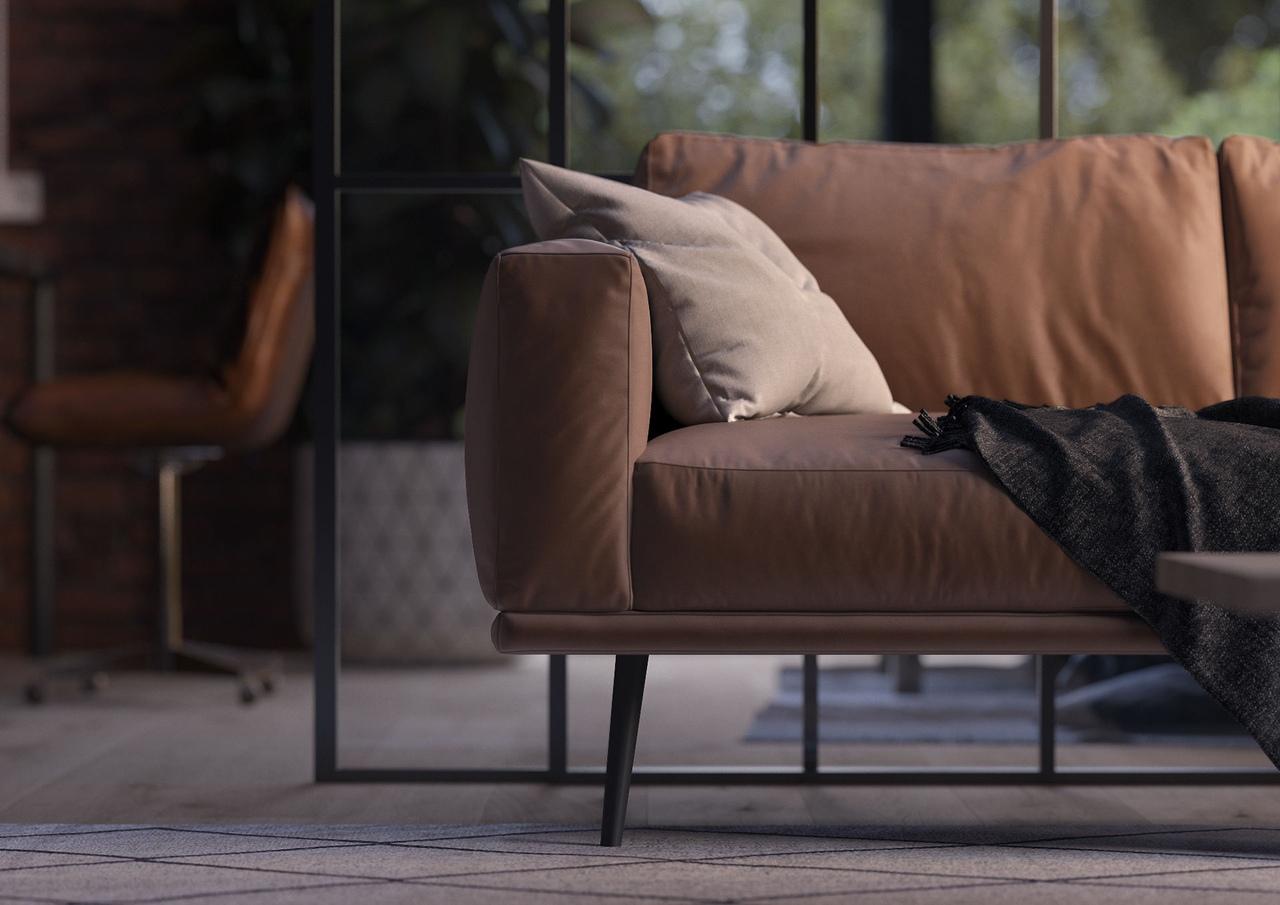 Sofa in the loft interior