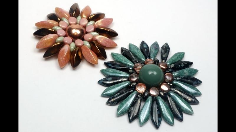 Schmuck selber machen Blume aus böhmischen Glasperlen als Brosche Ring oder Anhänger Tutorial