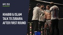 Khabib and Islam give Zubaira instructions in between rounds at UFC 253