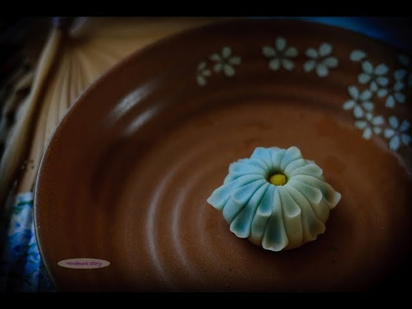 茶果子系列 凛菊 How to make wagashi Blue Chrysanthemum