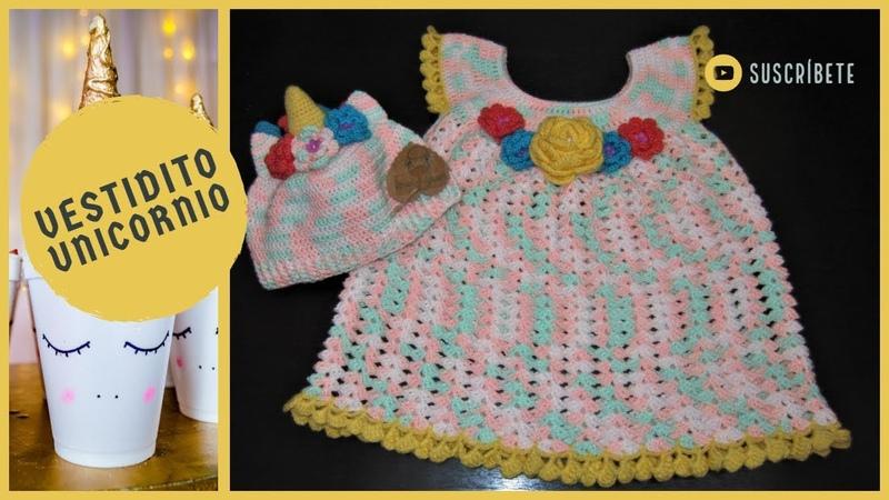 Vestidito Unicornio (Como tejer un vestido de niña a crochet)