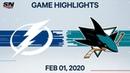 NHL Highlights Tampa Bay Lightning vs San Jose Sharks Feb 1 2020