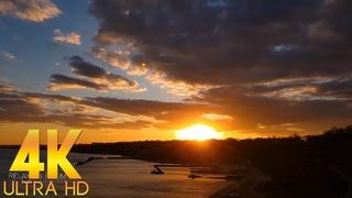 КРАСИВЫЙ ВЕСЕННИЙ ТАЙМЛАПС в 4K Ultra HD Закат Солнца над Морем для релаксации и отдыха