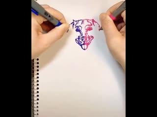 Рисуем двумя руками одновременно.