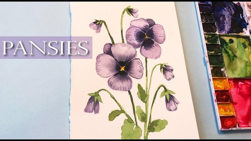 Easy Watercolor Pansies for Beginners Floral Friday watercolor techniques Watercolor Flowers
