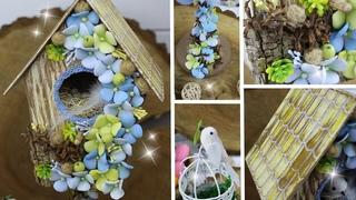 Милый декоративный скворечник своими руками / Как сделать птичку для декора 🏡