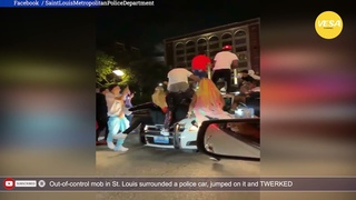 Out of control mob in St  Louis surrounded a police car, jumped on it and TWERKED