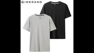 Giordano футболка мужская две пары комбинированных футболок с коротким рукавом и круглым воротом, две футболки идут в паре и