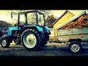 Трактор Беларус 920 и прицеп с сеном. Tractor Belarus 920 and trailer with hay. vseklevo