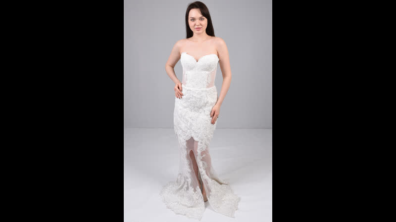 Шикарное белое платье-русалка с открытыми плечами 200325-306611