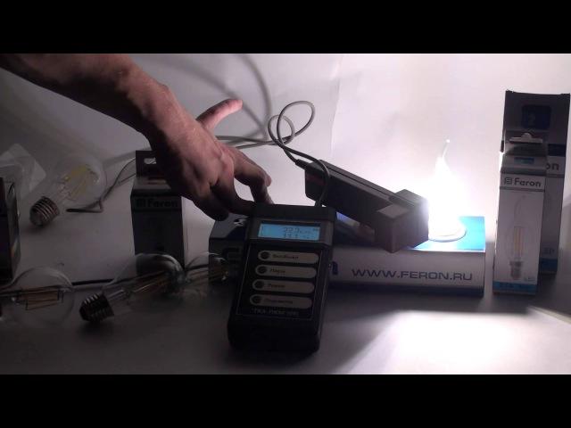 Измерение пульсации на лампе Feron филамент свечка (LB-59)