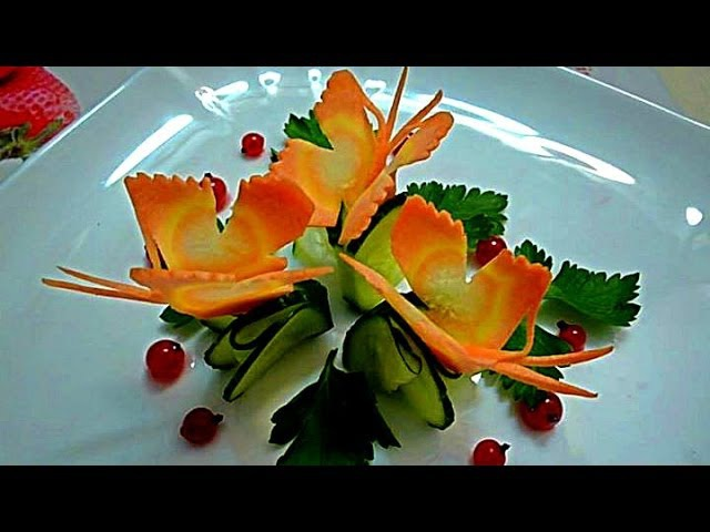 Бабочки из моркови Butterflies of carrots Decoration of carrots Decoration of vegetables