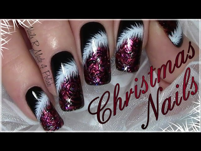 Classic Red Christmas Nails with Feather Xmas Nail Art Design tutorial for long nails