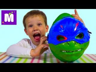 Черепашки Ниндзя большое яйцо сюрприз распаковка игрушки TMNT giant surprise egg with toys