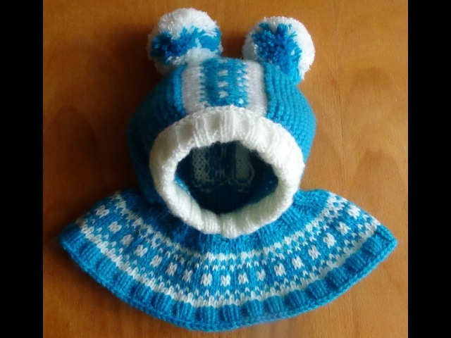 Шапочка-шлем с жаккардовым узором. Cap-helmet with jacquard knitting pattern