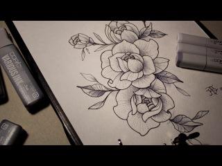 Эскиз для татуировки. Пионы \ sketch for tattoo. Flowers