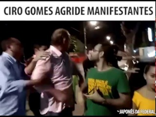 CIRO GOMES AGRIDE MANIFESTANTES NA PORTA DE CASA - 17/03/16