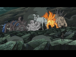 Хвостатые, Наруто, Би и Гаара против Мадары