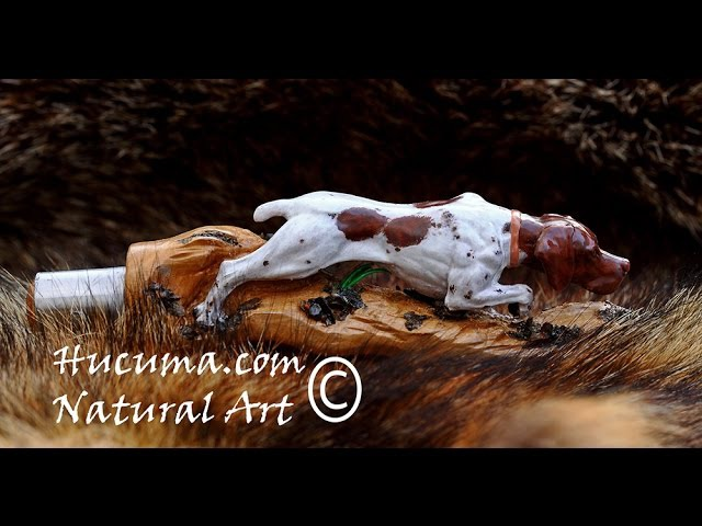 Navaja tallada con perro carved with hunting dog