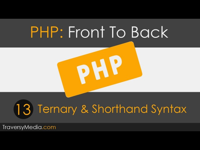 PHP Front To Back - [Part 13] Ternary Shorthand Syntax