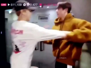 BTS Jin makes Jimin do strange handshake STOP BEATING MY BABY LMAO