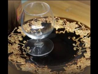 Роспись тарелки Золотая виноградная лоза 3-D