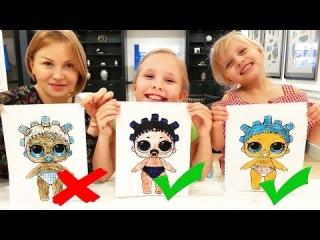 3 МАРКЕРА ЧЕЛЛЕНДЖ с МАМОЙ / 3 MARKER CHALLENGE w/ our MOM ! LOL dolls KIDS EDITION Детская версия