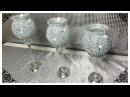 DIY DOLLAR TREE VASE AND CRUSHED GLASS BLING CANDLE HOLDERS 2018
