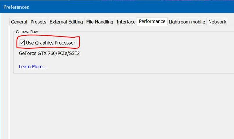Основное меню — Edit — preferences…. — Performance — поставьте галочку «Use Graphics Processor»