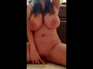 Large tits bounce as milf dildoes herself