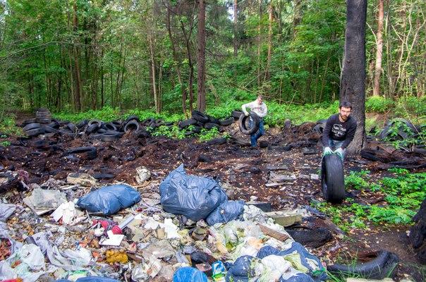 уборка сожженных шин во Всеволожске в рамках проекта «Охота на колеса» — 2018