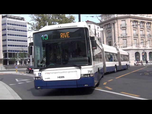 Троллейбус TPG LIGHT TRAMS LIGNE 10 в Женеве Швейцария сентябрь 2013 года