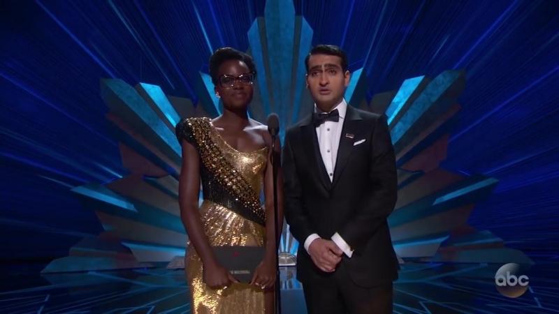 Люпита Нионго и Кумэйл Нанджиани на сцене премии «Оскар 2018»