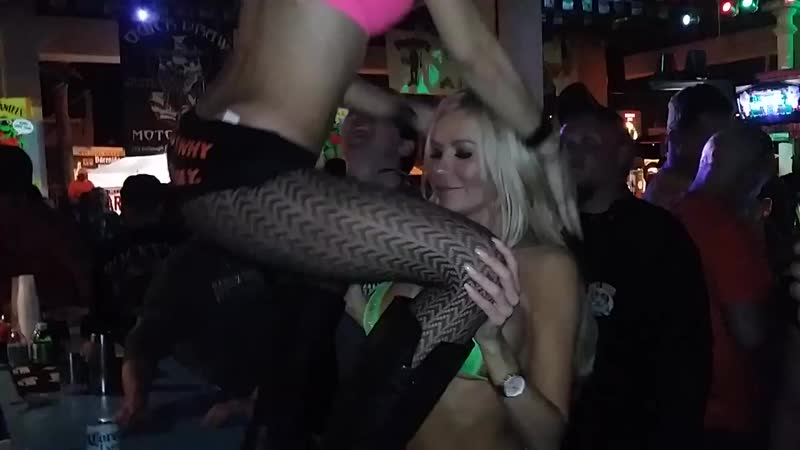 2-sexy-smoking-hot-blondes-wearing-lingerie-kissing-each-other-and-dancing-bike-week-Froggys-saloon
