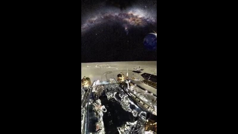 Взгляд на Землю и Млечный путь с Луны.