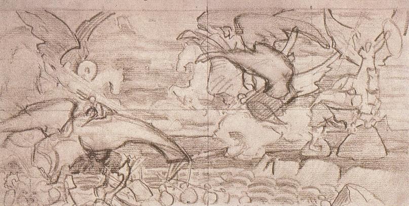 """Н.К. Рерих """"Небесный бой"""". Набросок композиции (Летящие Валькирии) 1905"""
