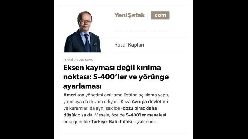 Yusuf Kaplan Eksen kayması değil kırılma noktası S 400'ler ve yörünge ayarlaması 14 06 2019