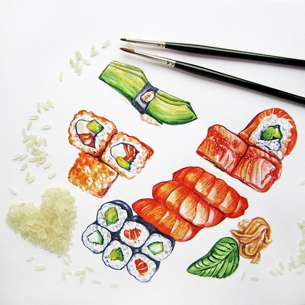 суши рисунки красками востребованности