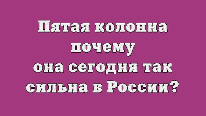 Пятая колонна – почему она сегодня так сильна в России?