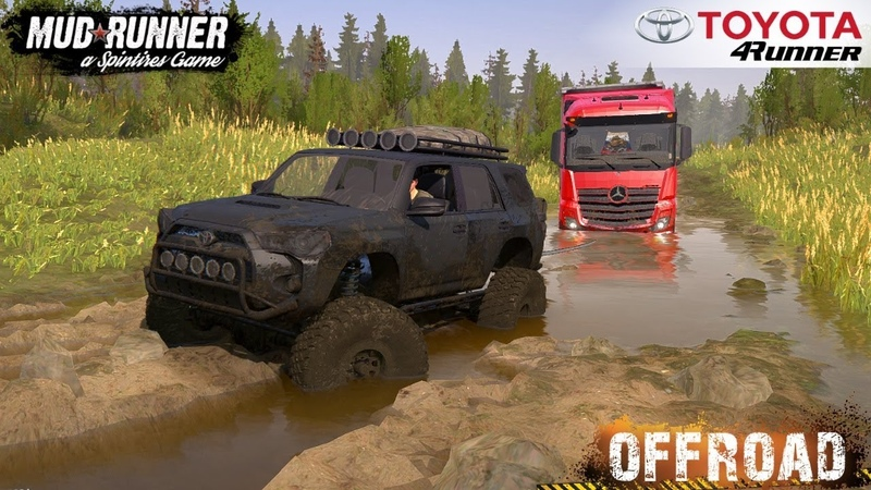 Spintires: MudRunner - 2014 TOYOTA 4RUNNER Towing a Semi Truck through the Swamp