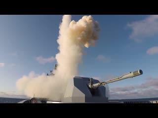 Запуск крылатых ракет Калибр с головного фрегата проекта 22350 Адмирал Горшков в рамках учения Гром-2019